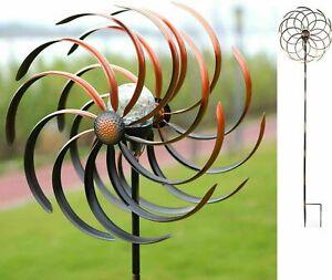 Backyard Windmill Kinetic Wind Spinner Solar Light Yard Metal Garden Decor Stake