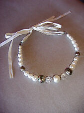 NEW ACCESSORIZE WHITE PEARLED AND CRYSTAL CHOCKER WITH A RIBBON