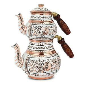 Custom Hand Embroidered Copper Turkish Teapot , Authentic Medium Sized Teapot