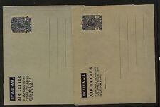 Aden  2 air letter sheets , one  revalued           KL0710