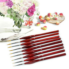 9 X Miniature Paint Brush Set Professional Sable Hair Fine Detail Art Nail Model