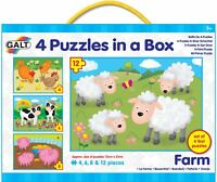 Galt 4 Puzzles In A Box Farm Baby/Toddler/Child Jigsaw Shape Sorter Animal BN