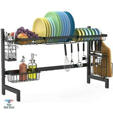 Over The Sink Dish Drying Rack Cup Dryer Kitchen Plate Organizer Heavy Steel 31'