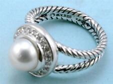 David Yurman Pearl and Diamond Sterling Silver Ring Size 7