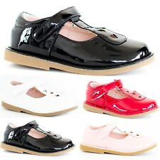 Correa de chicas escuela española Niños T-Bar Boda Fiesta Zapatos Planos Talla 10-2