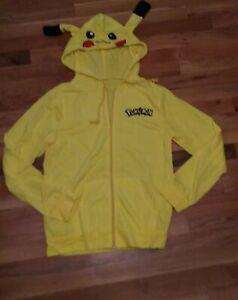 POKEMON Pikachu Adult Jacket (Size M) W/ Full Zipper, Hand Pockets & Hoodie NEW