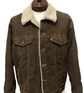 LEVI'S XL Corduroy Sherpa Standard Trucker Brown Jacket *excellent condition*