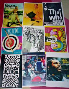 3 A4 CARD PRINTS. Biba, Mod, Pop art, 60's, The Who, Scooter, Vespa.