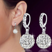 Womens 925 Sterling Silver Plated Crystal Ball Earrings Drop/Dangle Ear Stud