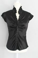 REVIEW BLACK RUFFLED TOP BLOUSE SIZE 8 EXCELLENT CONDITION
