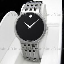 Men's Movado ESPERANZA Latest Model Black Museum Dial Swiss Quartz Watch 0606042
