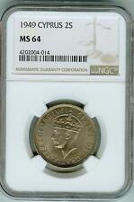1949 Cyprus 2 Shillings NGC MS 64