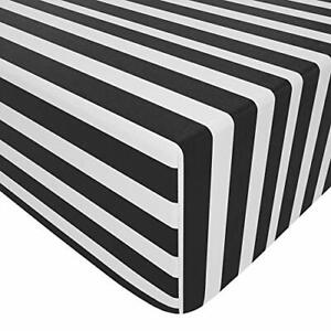 Microfiber Fitted Crib Sheet, Cozy and Soft 28 x 52 Inch Black and White