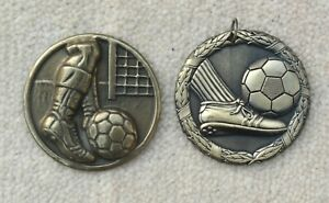 MEDALS 2 x 5 cm Round Metal Dark Gold Medals Football Designs One Laurel Leaves