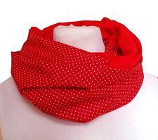 Loop rot Jersey Baumwolle Rockabilly Punkte Schal dots schick uni DIY scarf