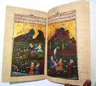 Early Persian Hunt/Picnic Manuscript Handmade Miniature Art With Leather Bind