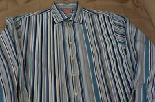 Thomas Pink Mens 16-1/2 French Cuff Button Front Shirt Long Sleeve Blue Strip