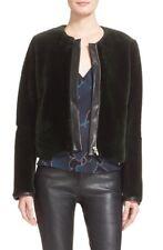 Veda Park Leather Trim Genuine Shearling Dark emerald green Jacket NWT M $3000