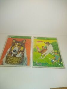 2 Vintage Lassie Frame Tray Puzzle 1973 Whitman Complete
