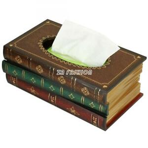 Vintage Wood Book Design Tissue Holder Box Cover Facial Paper Dispenser Antique