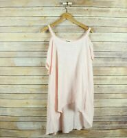 LEFT OF CENTER Women's Short Sleeve Cut Out Cold Shoulder Blouse L Large Pink