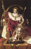 Art oil painting male portrait France napoleon I on his imperial throne canvas