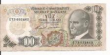 -EUROPE TURKEY -100 turkish lira note-1970 WORLD MONEY  CURRENCY ,COLLECTIBLE
