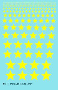 K4 HO Decals Five Point Stars 1/16 To 1 Inch Yellow