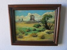 Vintage Oil Painting of Monument Valley Desert by Listed Artist Fred Frampton