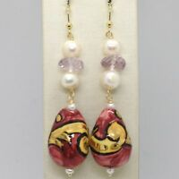Ohrringe aus Gold Gelb 750 18k Perlen Fw Keramik Handbemalt - Made in Italy