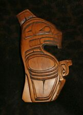 "Kwakiutl Carved Wood Plaque ""Thunderbird & Raven"" s. A. Hunt -- 9 1/4"" x 4 3/4""w"