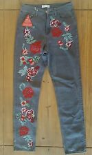 Glamorous Grey Floral Embroidered Flower Relaxed Skinny Jeans 10 BNWT defect