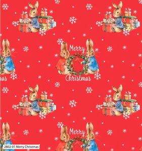 Beatrix Potter Peter Rabbit Merry Christmas 2802C-01 Cotton Fabric BTY