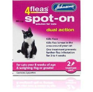 JOHNSON'S 4 FLEAS CATS OVER 8 WEEKS SPOT-ON DUAL ACTION KILLS FLEAS & LARVAE