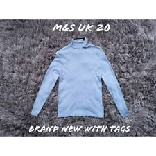 M&S UK 20 Light Blue Polo Neck Jumper BNWT NEW