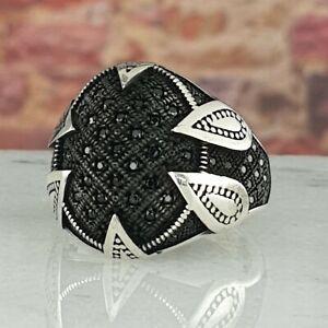925 Sterling Silver Black Onyx Gemstone Men Ring Handmade Otoman Size 9-13