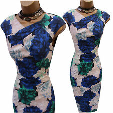 Karen Millen Satin Green Cream Blue Floral Wiggle Pencil Cocktail Dress 12-10 UK