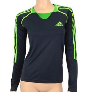 Adidas Women's Running Long Sleeve Shirt Sports T-Shirt Grey/Blue Green