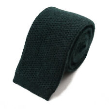 New $295 ISAIA NAPOLI Forest Green Knit 100% Cashmere Tie