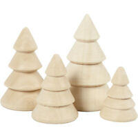 4 x 3D Solid Wood Christmas Trees Cones Paint & Decorate. Xmas Decorations 56239