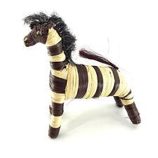 Handmade Straw Bristles Folk Art Zebra Animal Figurine 8'' Tall Home Decor