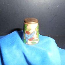 Cloisonne Brass Thimble - Pink & Blue Enamel - Bird & Flowers