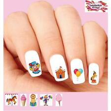 Waterslide Nail Decals Set of 20 - Circus Carnival Clown Horse Lion Assorted