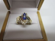 ESTATE 1.50CT TANZANITE SAPPHIRE AND DIAMOND ENGAGEMENT RING 14KT GOLD OVER
