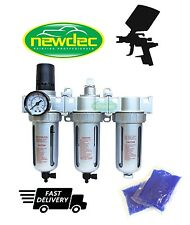 NEW 3 STAGE COALESCING AIR FILTER REGULATOR DRYER HIGH PERFORMANCE FLOW CLEANER