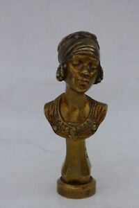 RARE Wax bronze seal Bust of a BLACK BEAUTY signed Alexandre CARON Art Nouveau