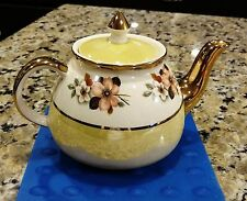 VINTAGE GIBSONS STAFFORDSHIRE ENGLAND GOLD TRIM TEAPOT WITH FLORAL MOTIF 1940's