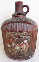 Vintage Hand Painted Spanish Glass 1 Gallon Jug Signed by Artist C. Nurez 12""
