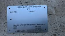 CHEVROLET GMS DATA PLATE ID VIN TAG PICK UP TRUCK 1970 71 72 73 74 75 76 77 78
