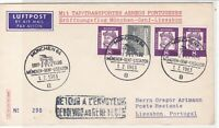 Germany 1963 Munich First Flight Special Cancel Retun Stamps Cover ref 22734
